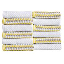 Great Bay Home 12-Piece Washcloth Set. 100% Cotton Multi-Striped Bathroom Towels. Quick Dry and Absorbent Towels. Set Includes 12 Washcloths. Milos Collection (12 Pack, Yellow/Gray)