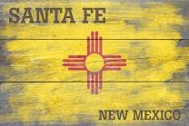 Santa Fe, New Mexico - Rustic State Flag (9x12 Art Print, Wall Decor Travel Poster)