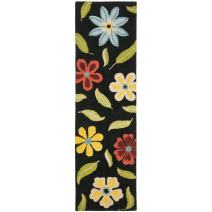 "Safavieh Blossom Collection BLM678B Handmade Black and Multi Premium Wool Runner (2'6"" x 10')"