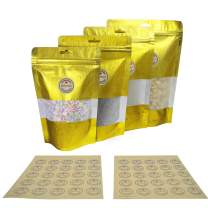 Set of 50 Assorted Size Rice Paper Semi-Clear Window Hang-Hole Stand-Up Ziplock Pouch with Complementary Stickers (Assorted Size, Gold Rice Paper)