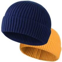 ROYBENS Swag Wool Knit Cuff Short Fisherman Beanie for Men Women, Winter Warm Hats