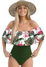 Telaura One Piece Flounce Swimsuit Women Ruffle Floral Print Monokini…