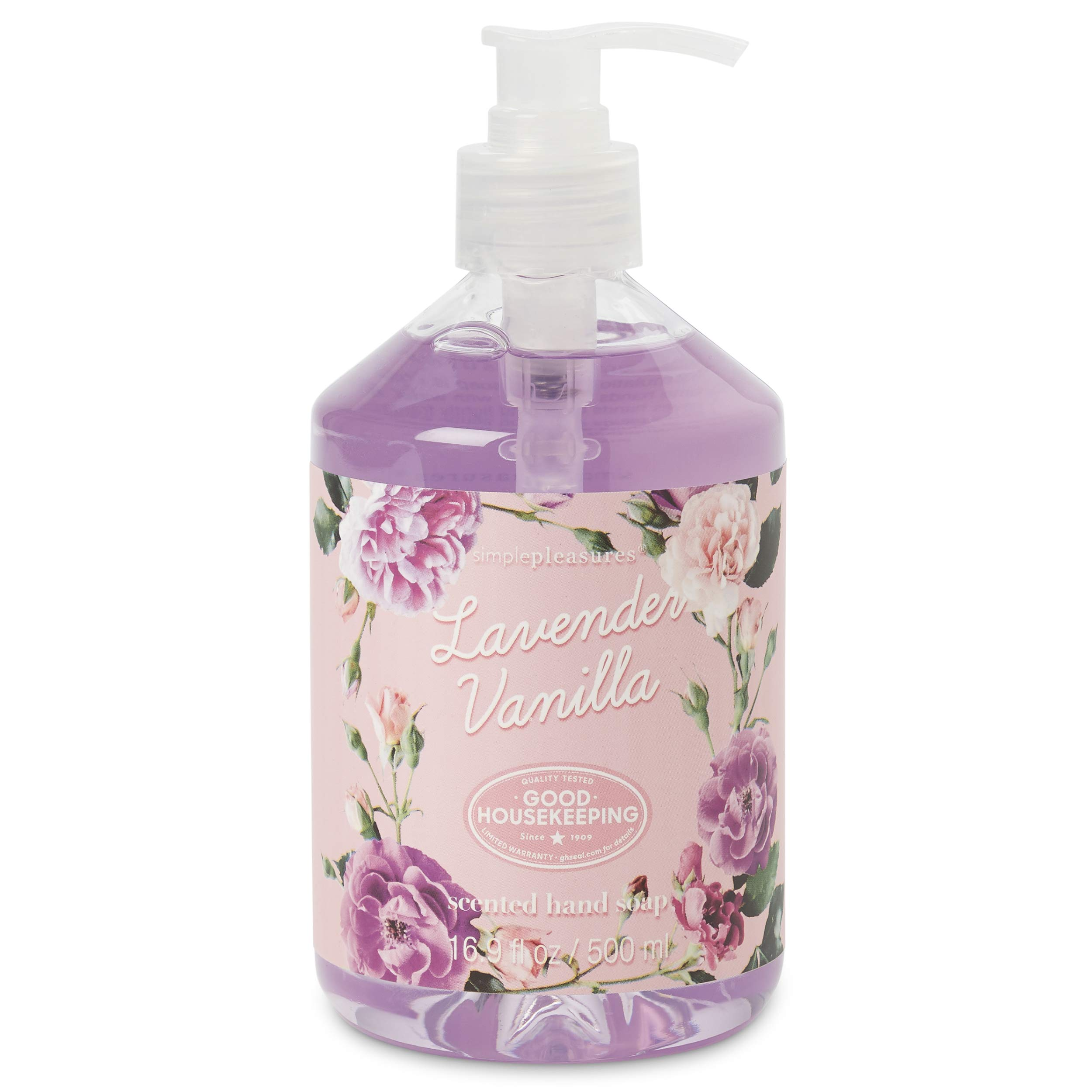 Simple Pleasures Luxury Lavender Vanilla Scented Aromatic Hand Cleanser - Classic Floral Design Hand Soap Dispenser Pump For Bathroom Or Kitchen Countertop - Backed By The Good Housekeeping Seal