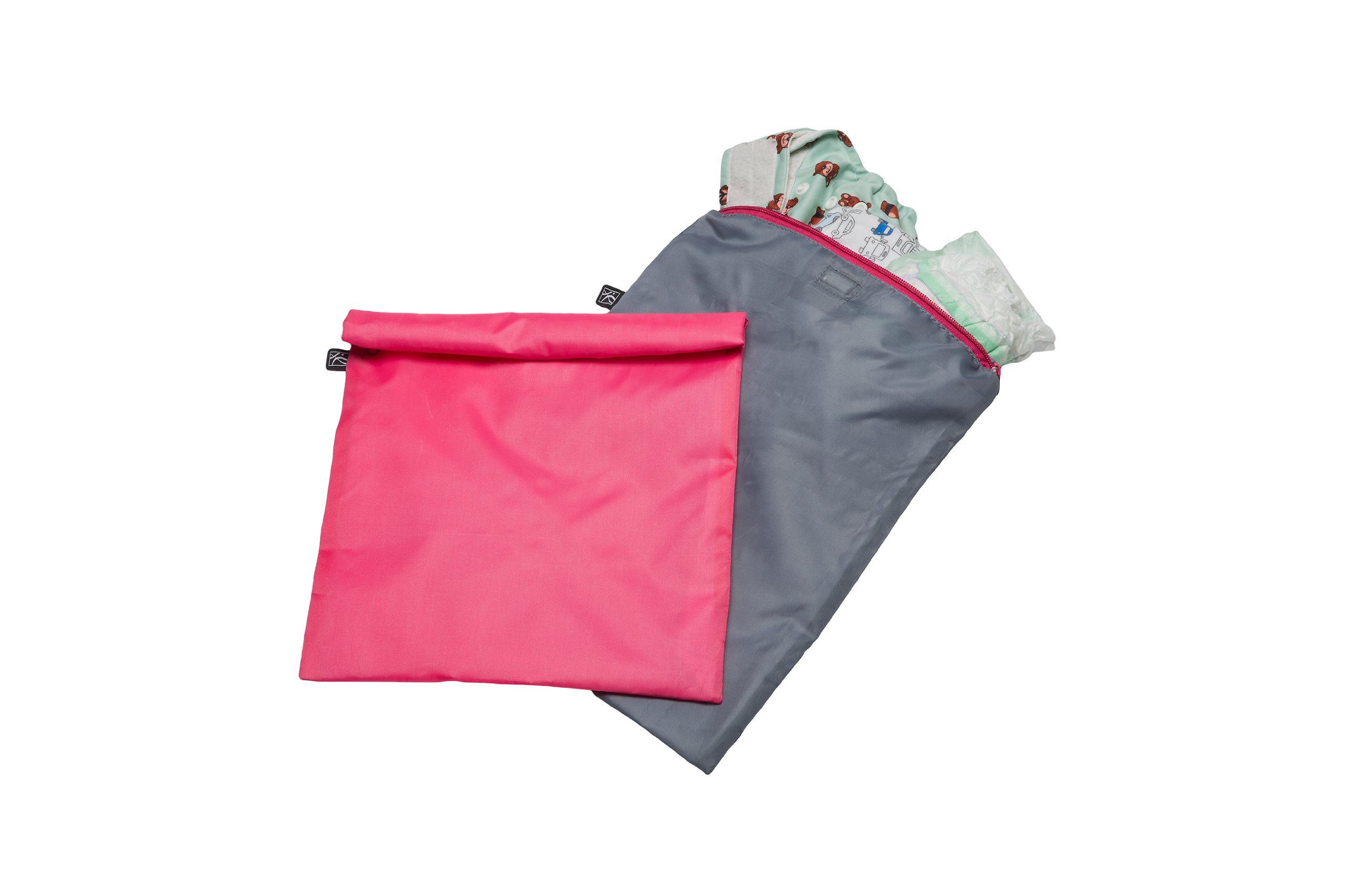 J.L. Childress Wet-to-Go Portable Wet and Dry Bags, Waterproof and Leakproof, Machine-Washable, Reusable for Cloth Diapers, Wet Clothes, Swimsuits, and More. 2 Pack, Pink/Grey