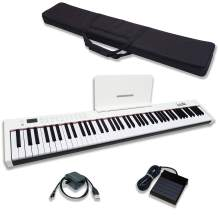Dulcette 88-Key Portable Electric Piano Keyboard | Built-In Amplifying Speakers | Semi-Weighted Keys | Electronic Keyboard Piano MIDI/USB | Bluetooth | FREE CARRYING BAG | (DC-11) (White)