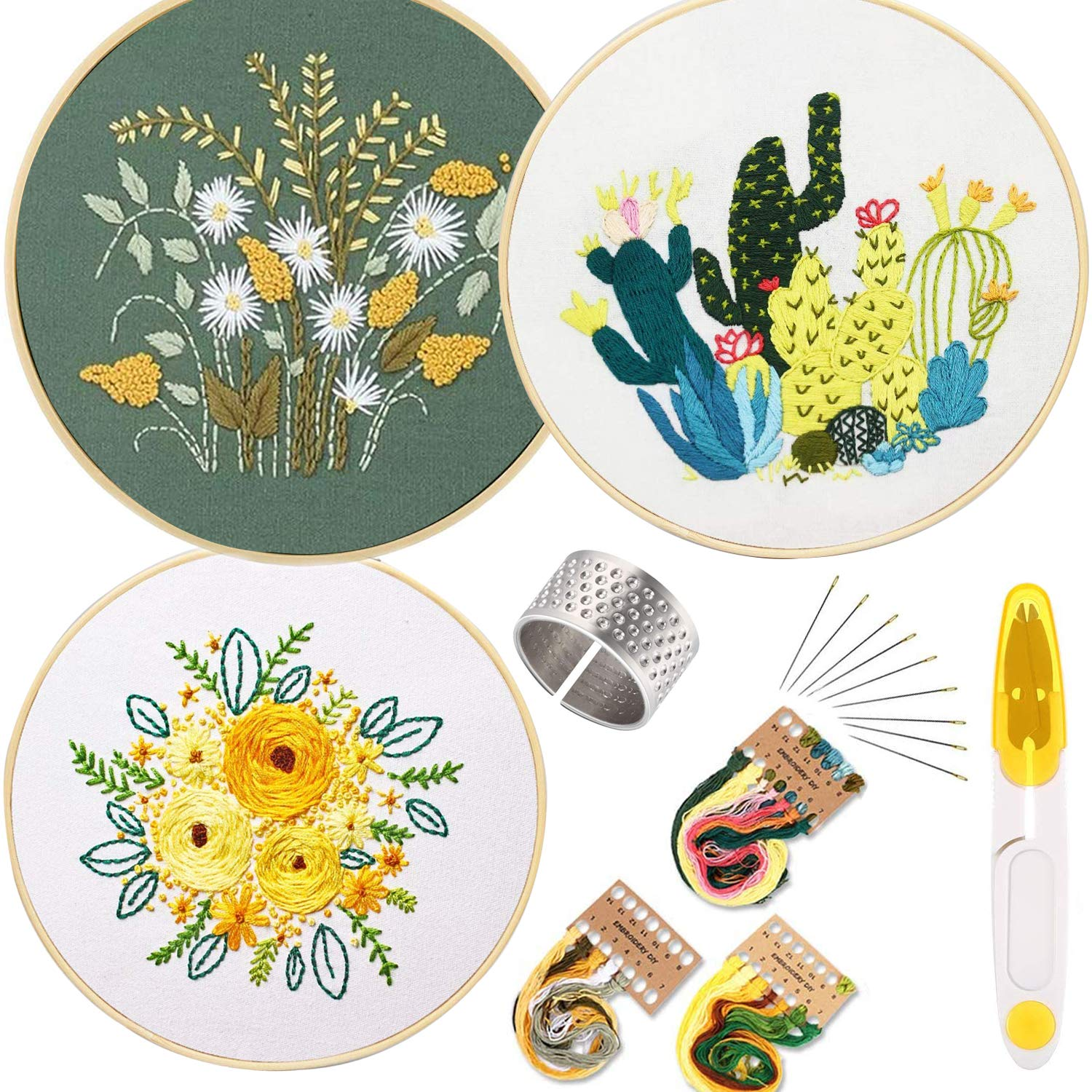 3 Pack Embroidery Cross Stitch Kits for Beginners, Full Range of Stamped Fabric Patterns Embroidery Starter Kit with 3 Pcs Plant Pattern, 1 pcs Embroidery Hoop, Color Threads Tools Kit, 1 pcs Thimble