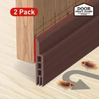 Holikme Door Draft Stopper 2 Pack Brown 39-inch Under Door Draft Blocker Insulator Door Sweep Weather Stripping