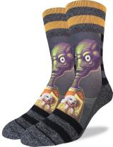 Good Luck Sock Men's Alien Puppy Love Crew Socks - Grey, Adult Shoe Size 8-13