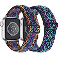 MEFEO 2-Pack Adjustable Elastic Apple Watch Bands Compatible with Apple Watch 38mm 40mm 42mm 44mm, Braided Pattern Nylon Sport Women Girls Bracelet Strap for iWatch SE Series 6/5/4/3/2/1 (Aztec Style Blue+Aztec Green Blue, 38mm/40mm)