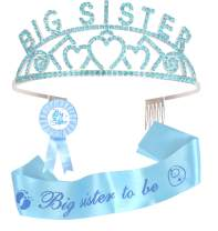 Big Sister Big Sister Crown Sash and Pin, I am going to be Big Sister, Daughter Get Promoted To Big Sisters Idea Gift Set, Satin Big Sister to be for Baby Shower Sash, Big Sister Party supplies (blue)