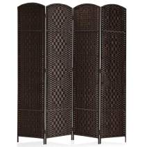 """Rose Home Fashion RHF 6 ft.Tall-15.7"""" Wide Diamond Weave Fiber 4 Panels Room Divider/4 Panels Screen Folding Privacy Partition Wall Room Divider Freestanding 4 Panel, Dark Coffee"""