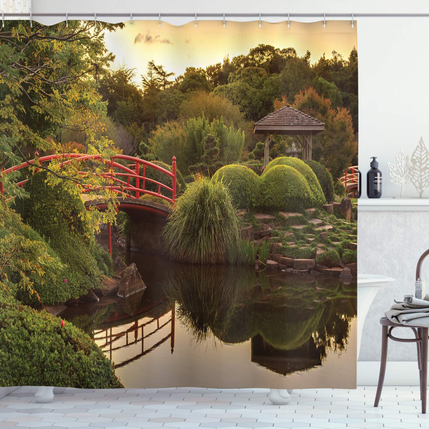 """Ambesonne Japanese Shower Curtain, PeacefulGarden in Twilight with Reflections in Water Red Bridge on Pond Sunset, Cloth Fabric Bathroom Decor Set with Hooks, 75"""" Long, Green"""