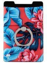 The StickyWallet +Ring – New 4-in-1 Spandex Stick-on Wallet for Any Phone + Kickstand Ring – Best Card Holder Sticker for Case: iPhone 11, Pro, Max, XR XS X etc. (Tropical Red)