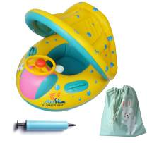 FindUWill Inflatable Baby Float-Pool Swimming Ring with Sun Canopy with Inflator Pump,Waterproof Carry Bag