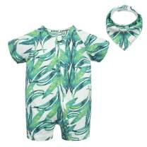 BIG ELEPHANT Baby Boys'1 Piece Summer Short Sleeve Pajama Graphic Zipper Romper