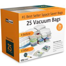 Home-Complete 25 Vacuum Storage Bags-Space Saving Air Tight Compression-Shrink Down Closet Clutter, Store, Organize Clothes, Linens, Seasonal Items