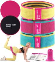 Booty Bands and Core Sliders Set| Set of 3 Resistance Bands for Legs and Butt Fitness Squat Bands Exercise Bands Hip Thigh Glute Bands Non Slip Fabric Loop Bands and Gliding Discs