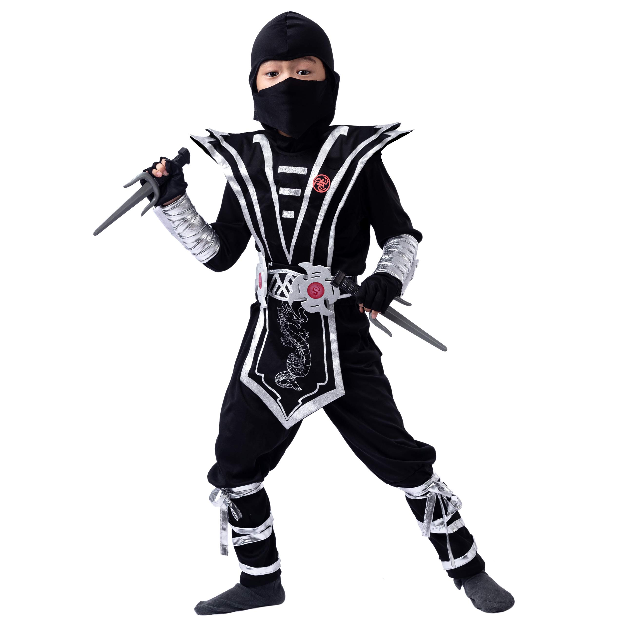Silver Ninja Deluxe Costume Set with Ninja Foam Accessories Toys for Kids Kung Fu Outfit Halloween Ideas