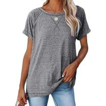 BESFLY Women Tunic Top for Women to Wear with Leggings Short Sleeve Shirt for Women Loose Fit Shirt