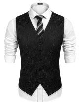 COOFANDYMensClassicPaisleyFloralJacquardWaistcoatWeddingTuxedoSuit Vest