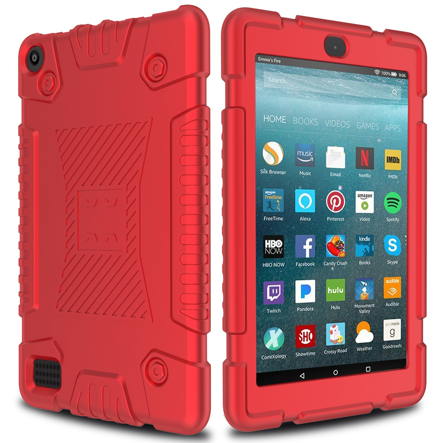 All-New Amazon Fire 7 Silicone Case, Elegant Choise Anti-Slip Shockproof Soft Silicone Kid Friendly Protective Case Cover for All-New Amazon Fire HD 7 Table (7th Generation) 2017 Release (Red)