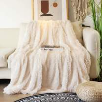 """Decorative Extra Soft Faux Fur Blanket Queen Size 78"""" x 90"""",Solid Reversible Fuzzy Lightweight Long Hair Shaggy Blanket,Fluffy Cozy Plush Fleece Comfy Microfiber Blanket for Couch Sofa Bed,Cream White"""