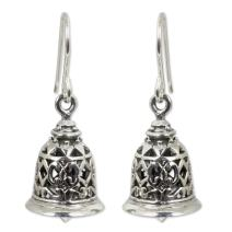 NOVICA .925 Sterling Silver Bell-Shaped Dangle Hook Earrings 'Temple Bell'