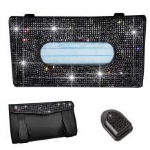 LIFUTOPIA Full Jewelled Car Visor Tissue Mask Holder Sparkling Bling Crystals W/Glitter Mask Hook Clip (Black Bling)