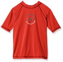 Kanu Surf Boys' Big UPF 50+ Sun Protective Rashguard Swim Shirt, Haywire Red, X-Large (14/16)