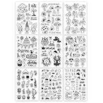 GLOBLELAND 9 Sheets Silicone Clear Stamps Seal for Card Making Decoration and DIY Scrapbooking(Christmas Theme, Cartoon Insects, Birthday, Christmas, Dwarf elf, Cactus, Snowman, bee)