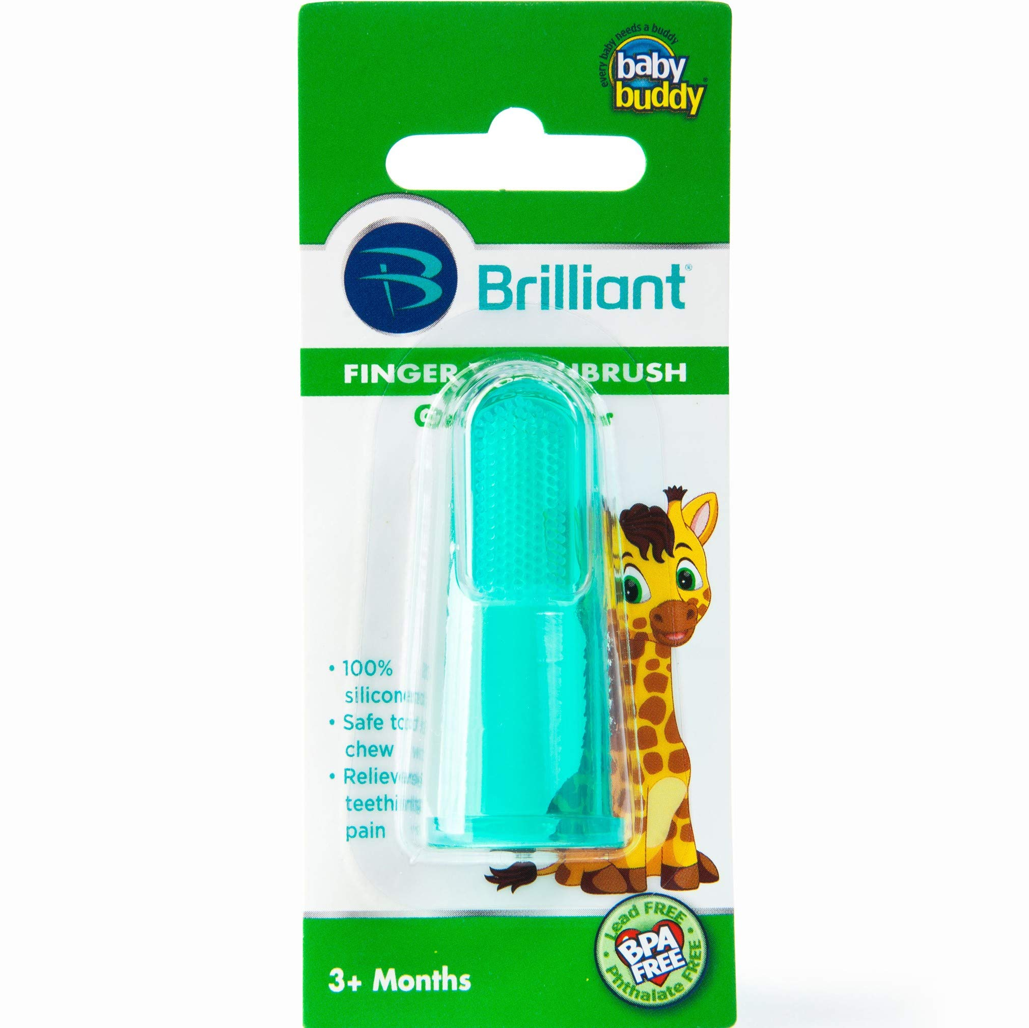 Brilliant Baby Finger Toothbrush - Silicone Gum Massager and Teether Brush for Babies and Toddlers - Kids Love Them, Green, 1 Count