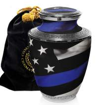 Blue Line Flag Police and Law Enforcement Cremation Urns for Human Ashes Adult for Funeral, Burial, Columbarium or Home, Cremation Urns for Human Ashes Adult 200 Cubic Inches, Urns for Ashes, Large