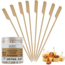 Bamboo Skewers Toothpicks for Appetizer Picks – 3.5 inch (Pack of 220) Wooden Cocktail Skewers and Bamboo Toothpicks for Appetizers Food Garnish Sandwich Fruit Kabobs Drinks Cocktail – Eco Friendly