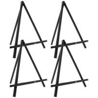 "U.S. Art Supply 16"" High Black Wood Display Stand A-Frame Artist Easel (Pack of 4) - Adjustable Wooden Tripod Tabletop Holder Stand for Canvas, Painting Party, Kids Crafts, Photos, Pictures, Signs"