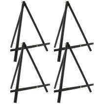 """U.S. Art Supply 16"""" High Black Wood Display Stand A-Frame Artist Easel (Pack of 4) - Adjustable Wooden Tripod Tabletop Holder Stand for Canvas, Painting Party, Kids Crafts, Photos, Pictures, Signs"""