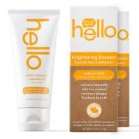 Hello Oral Care White Turmeric + Coconut Oil brightener Booster Fluoride Free Toothpaste 4.0 Ounces, 2 Count