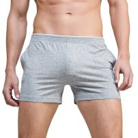 Linemoon Men's Solid Cotton Sleep Bottoms Fashion Simple Active Shorts