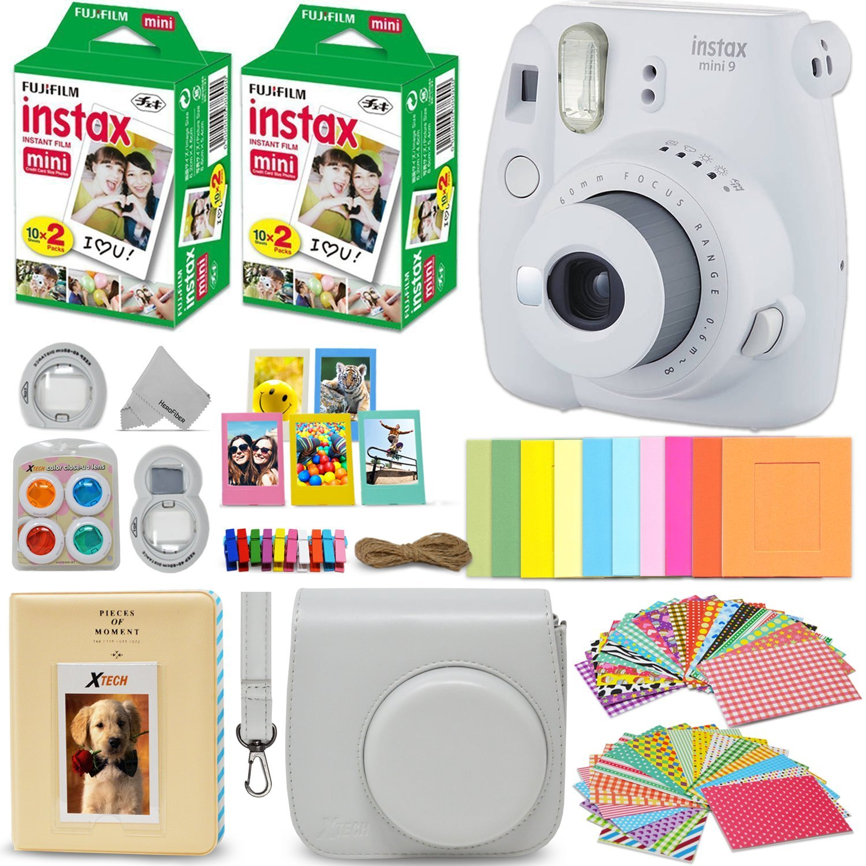 Fujifilm Instax Mini 9 Instant Camera White + Fuji INSTAX Film (40 Sheets) + Accessories Kit Bundle + Custom Case with Strap + Assorted Frames + Photo Album + 60 Colorful Sticker Frames + More