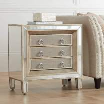 "Mira 28"" Wide 3-Drawer Mirrored Accent Table - 55 Downing Street"