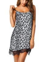 UUANG Sexy Sleepwear Womens Chemise Nightgown Lace Babydoll Model Nightdress Sleep Cami Dress