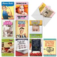 NobleWorks - 10 Assorted Mother's Day Cards with Envelopes - Boxed Funny Cards for Mom, Stepmom, Women - Mom Always Knows Best AC6782MDG-B1x10