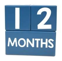 Months in Motion Baby Monthly Milestone Blocks for Age Photos - Baby Milestone Age Photo Blocks - Newborn Week Photos - Navy Blue