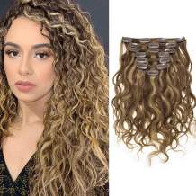Caliee Natural Curly Clip in Hair Extensions 18 inch Human Hair Double Weft Highlighted Blond Color Natural Wave Dark Brown Color #4 Ombre Strawberry Blonde #27 Color 7Pieces 17Clips with 120Gram Per Set