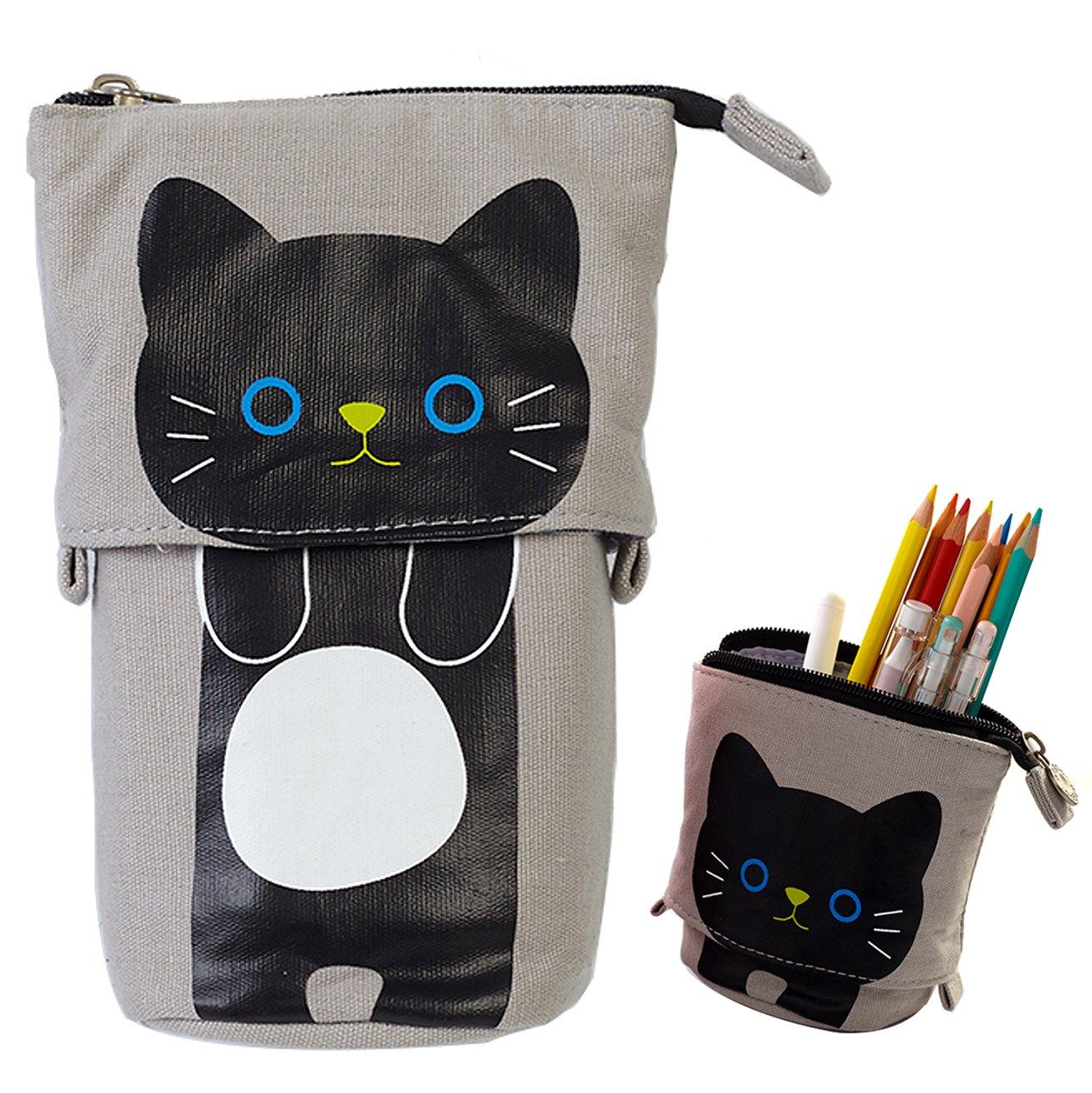 iSuperb Transformer Stand Store Pencil Holder Canvas+PU Cartoon Cute Cat Telescopic Pencil Pouch Bag Stationery Pen Case Box with Zipper Closure 7.5 x 4.9 x 3.0inch/4.1x 3.0inch (Gray)