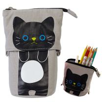 iSuperb Transformer Stand Store Pencil Holder Canvas+PU Cartoon Cute Cat Telescopic Pencil Pouch Bag Stationery Pen Case Box with Zipper Closure 7.5 x 4.9 x 3.0inch/4.1x 3.0inch (Gray)