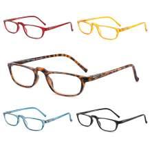 Reading Glasses for Women Men, 5 Pairs Spring Hinge Readers,Lightweight Eyeglasses for Anti Glare UV Digital Eyestrain