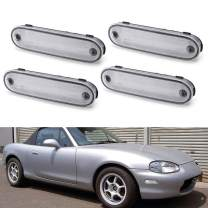 iJDMTOY JDM Clear/White Lens Front/Rear Side Marker Light Housing w/ Pigtails Replacements Compatible With 1990-2005 Mazda Miata MX-5 NA NB, Replace OEM Amber/Red Sidemarkers