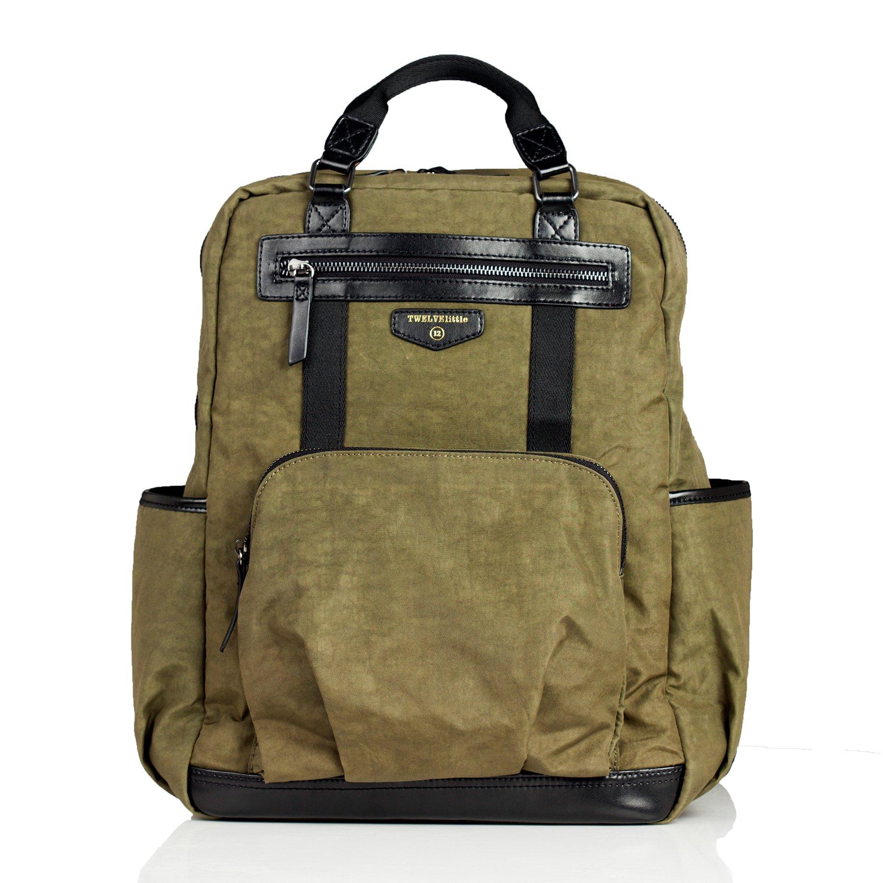 TWELVElittle Unisex Courage Backpack Diaper Bag, Olive