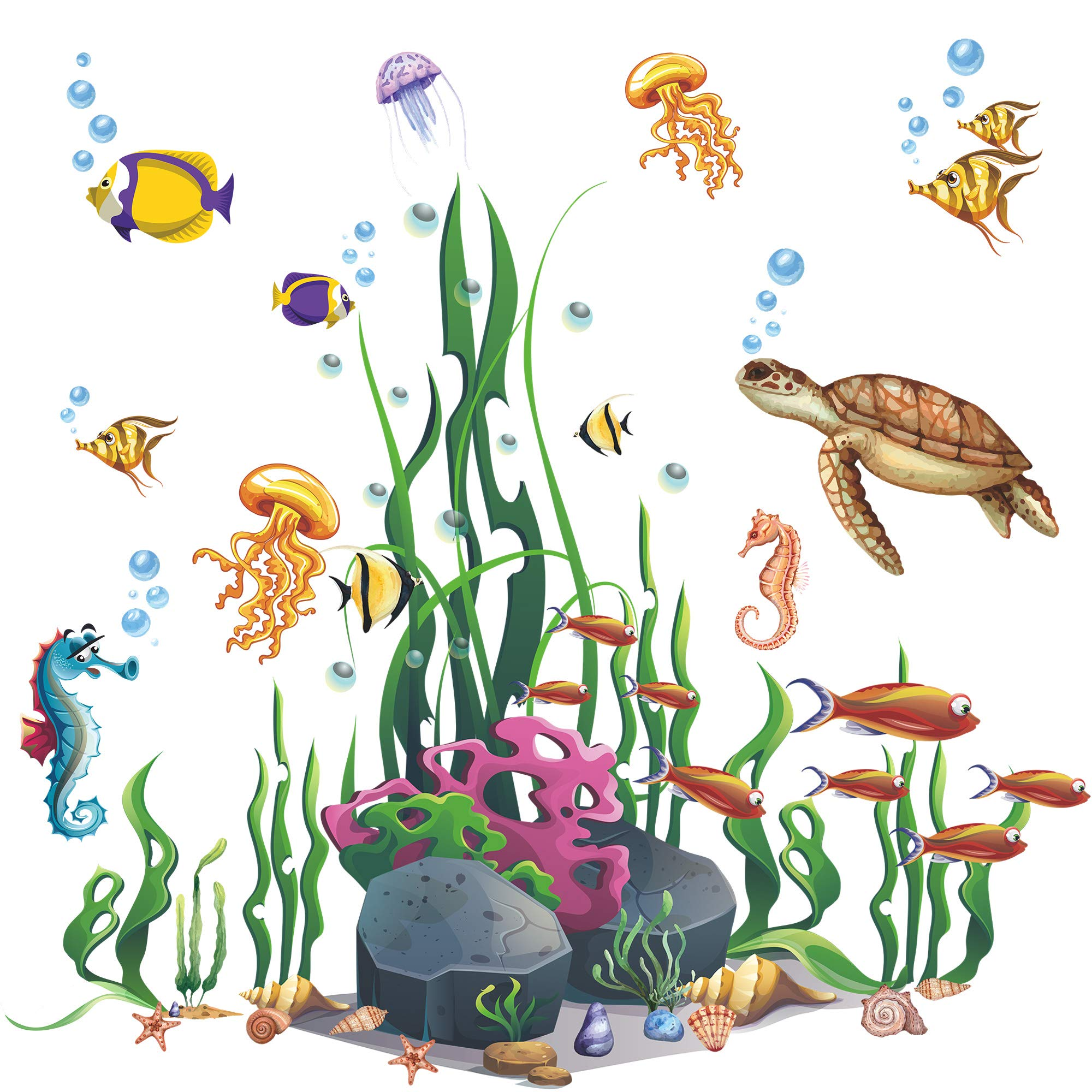 Amaonm Creative Cartoon Removable 3D Under The Sea World Nature Scenery Wall Stickers Ocean Grass Colorful Seaweed Baseboard Wall Decal for Wall Corner Nursery Room Bathroom Living Room (Animals)