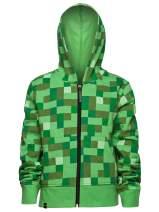 JINX Minecraft Big Boys' Creeper Zip-Up Costume Hoodie, no Mask